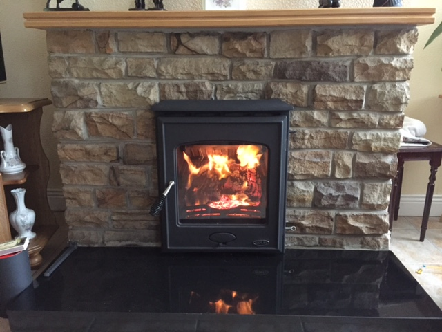 Arklow 5kw. Ideal for timber surrounds and a stunning glass door.