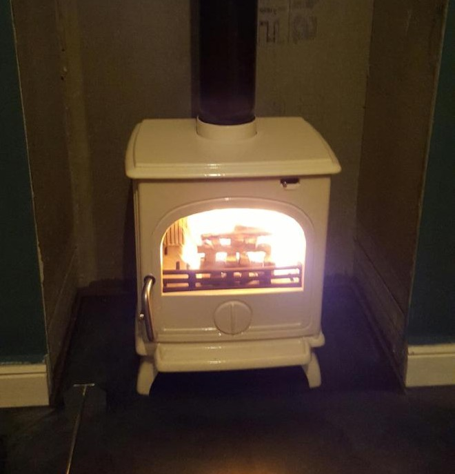 Dru 44 5kw in Ivory cream. Serious heat for serious heat lovers.