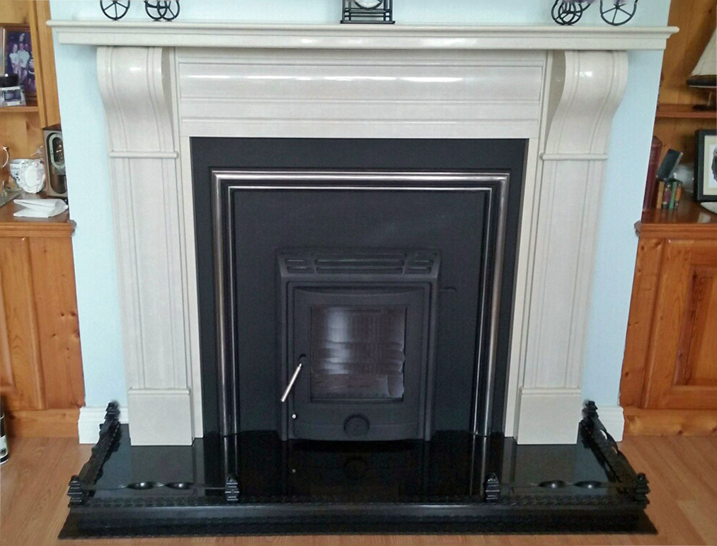 Tuscon inset stove with Corbel in ivory cream