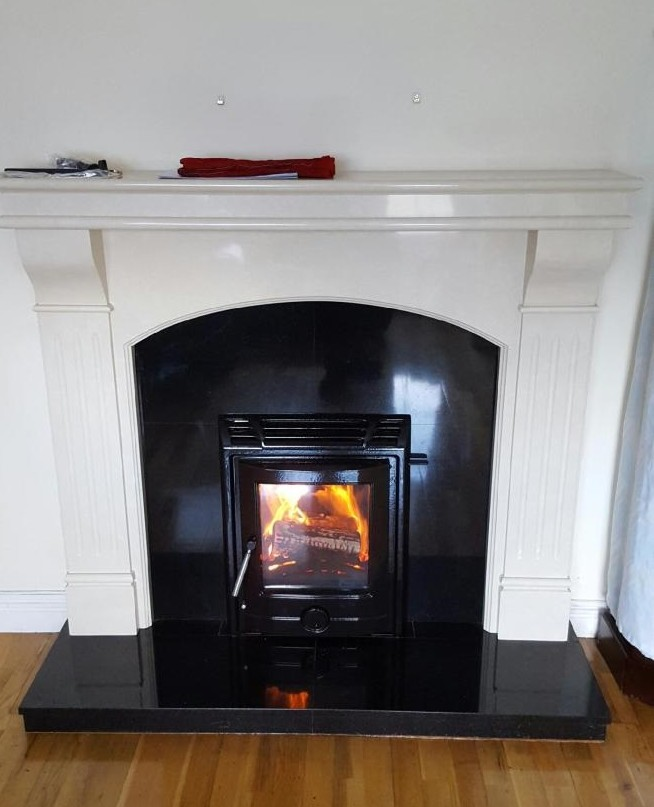 Tuscon in black enamel with Roma fireplace in ivory cream