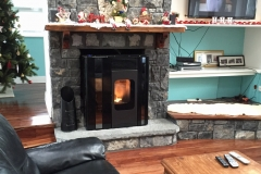 Olga black metallic pellet stove, not just for Christmas.